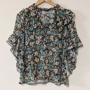 NWT Zara Floral Lace-Up Ruffled Blouse